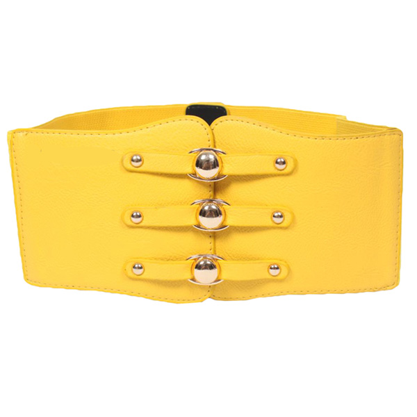Ladies Faux Leather Wide Band Elastic Cinch Waist Belt Waistband Yellow CC2010
